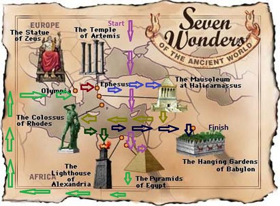 Карта подорожі - сім чудес світу
